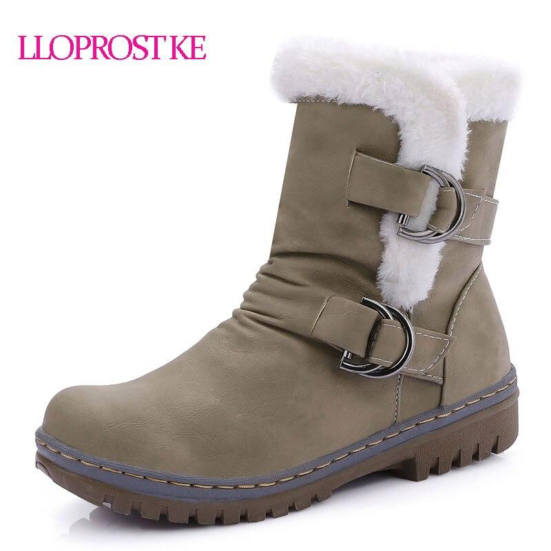 LLoprost KE invierno cálido zapatos de mujer correa de hebilla - Zapatos de mujer