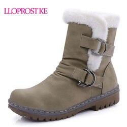 Lloprost ke winter warm women shoes buckle strap pleated retro ankle boots med heeled waterproof vogue.jpg 250x250