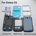 Original Replacement Parts Full Housing Middle frame Back Case Cover For Samsung Galaxy S3 i9300 & Front Glass & Adhesive & Tool