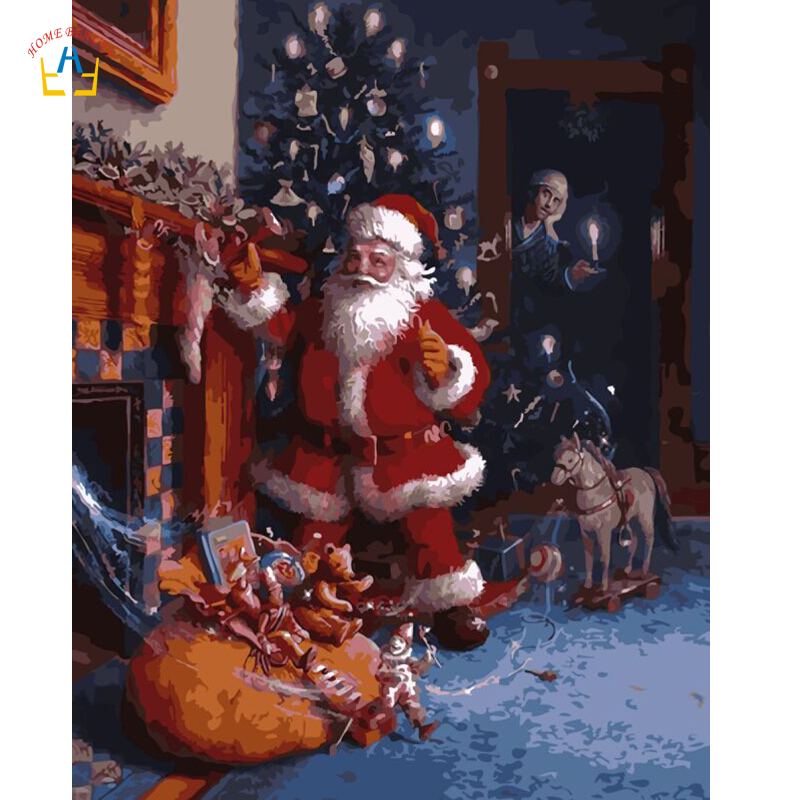 Oil Painting By Numbers Santa Claus Cartoon Pictures On The Wall Home Decoration Frameless Canvas Paintings Christmas Gift E542