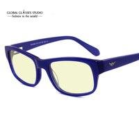 משלוח חינם אנטי חיתוך אור הכחול עדשה מוכנה נשר צורת כיכר משקפיים מותג מסגרת אופטית אצטט משקפיים מחשב BMV7000
