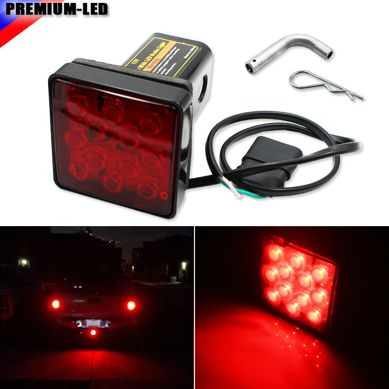 (1) Red Lens 12-LED Super Bright Brake Light Trailer Hitch Cover Fit Towing & Hauling 2 Standard Size Receiver 50w 25 led red