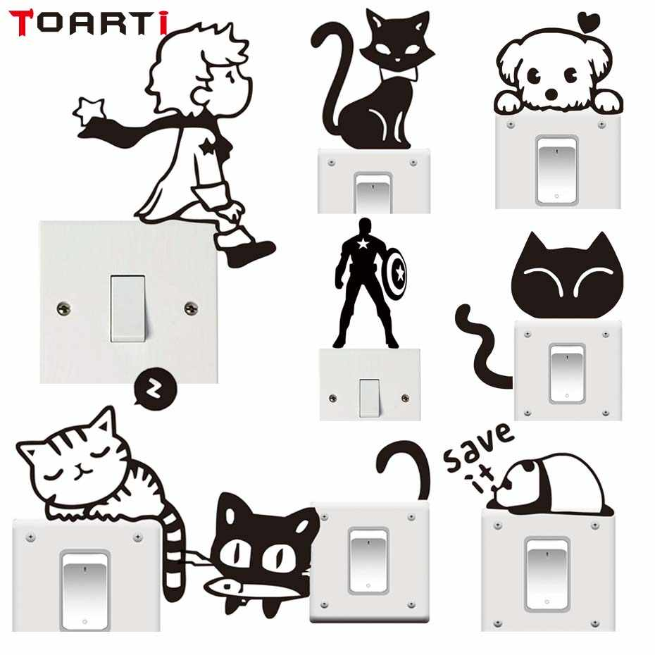 Cartoon Cat Prince Switch Sticker Cartoon Vinyl Wall Stickers for Kids Room Murals Home Decor Removable Self Adhesive Wallpaper