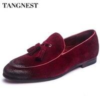 Tangnest夏最新男性本革シューズファッションタッセルメンズウェッジ靴固体スリップ男運転靴4色XMR2101