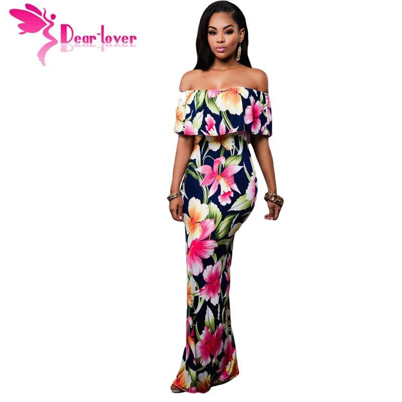Dear-lover off-the-shoulder maxi jurken zomer 2017 vakantie party marineblauw rozen print jurken vestido festa largo gewaden LC61189