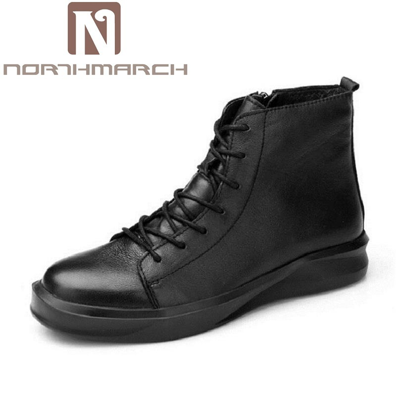 NORTHMARCH Brand Designer Men Boots New Fashion Real Leather Ankle Boots Street Style Lace-up Men Shoes Botas De Cuero De Hombre цена