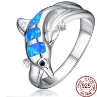 Dolphin Blue Opals Gem 100 925 Sterling Silver Cute Zirconia Finger Rings Female Animal Designer Jewelry