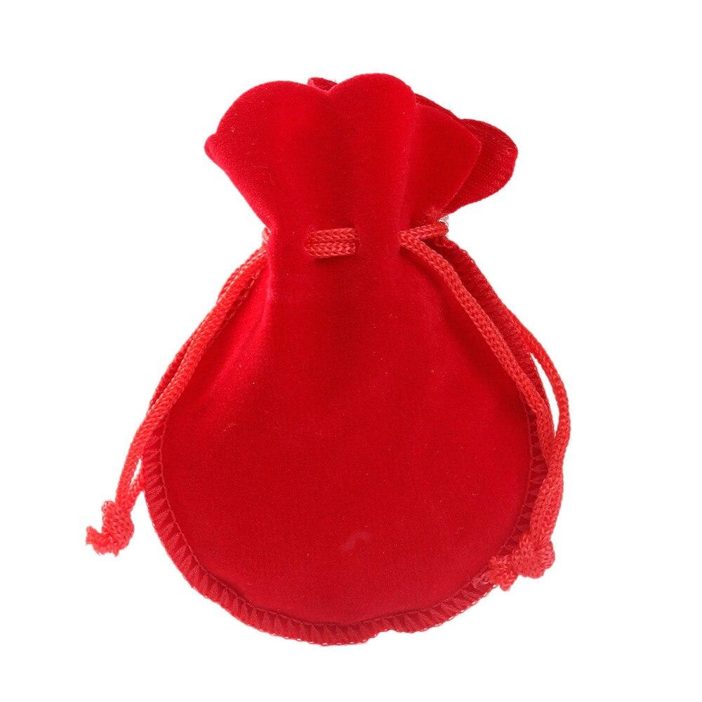 Doreen Box hot- 20PCs Red Velvet Drawstring Pouches Jewelry Gift Bag with String 9x7.5cm(3-1/2x3) (B18756)