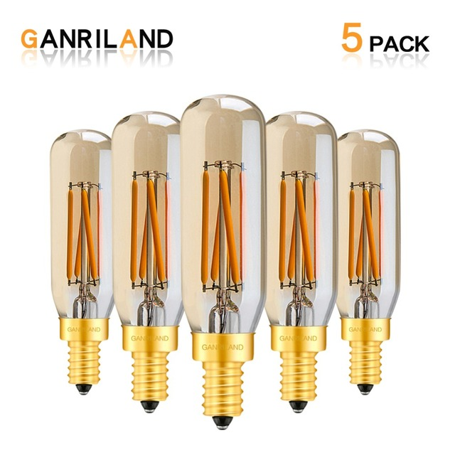 Ganriland Amber Glass T25/T8 Tubular Lamp Led Bulb 4w 2200k Retro LED Filament E12 E14 Light Bulb Dimmable Decorative Chandelier