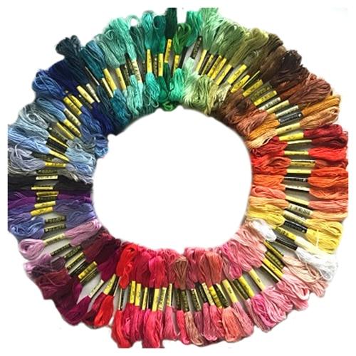 100 мотки цветной вышивка нитки хлопок крест иглы Ремесло швейная нить комплект купить на AliExpress