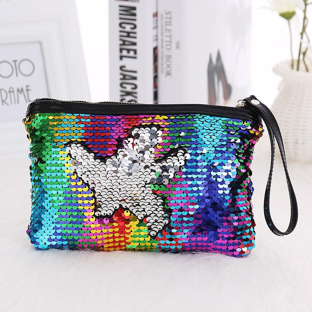 Hch-diy Doppel Farbe Pailletten Glitter Handtasche Bleistift Fall Tasche Make-up Tasche weiß Damentaschen Gepäck & Taschen