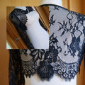 Top Design Tulle Appliques Lace Long Sleeves Custom Made Black Bridal Jackets lace jacket bridal