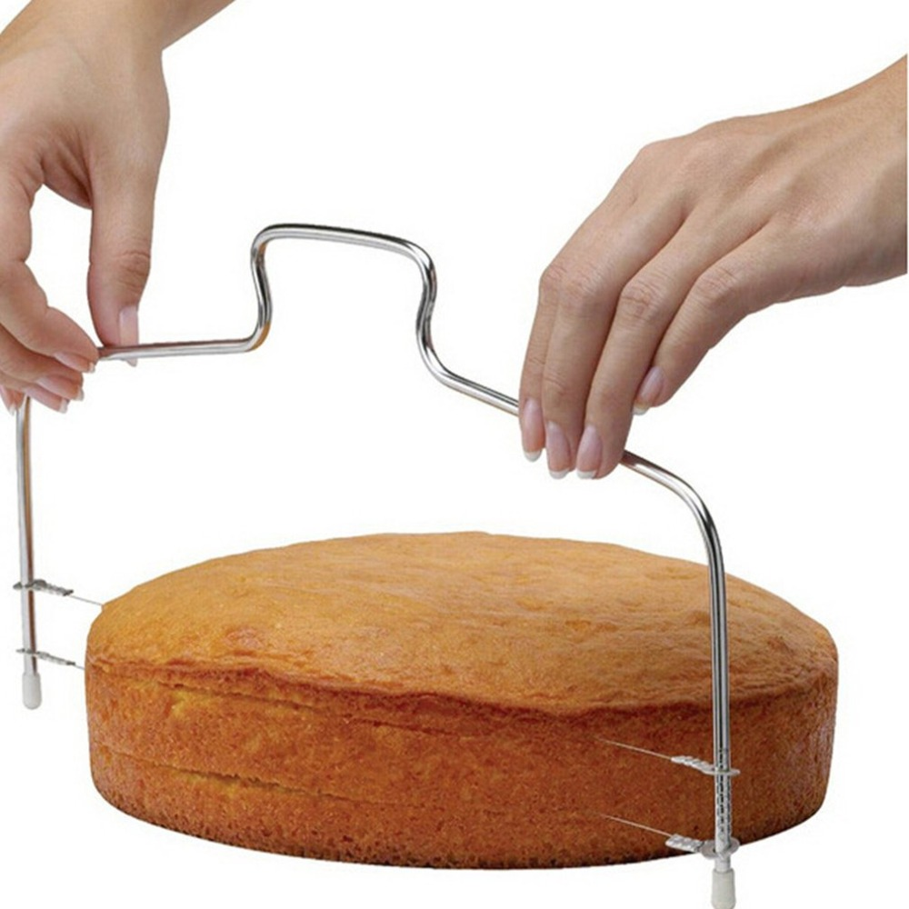 Double Line Adjustable <font><b>Cake</b></font> Cut <font><b>Tools</b></font> Stainless Steel <font><b>Metal</b></font> <font><b>Cake</b></font> Slicer Device <font><b>Decorating</b></font> Mold Bakeware Kitchen Cooking <font><b>Tool</b></font> image
