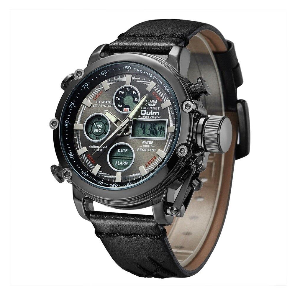 Oulm marca de lujo superior Relojes hombres pantalla doble analógico ... dfae9c0c9d0b