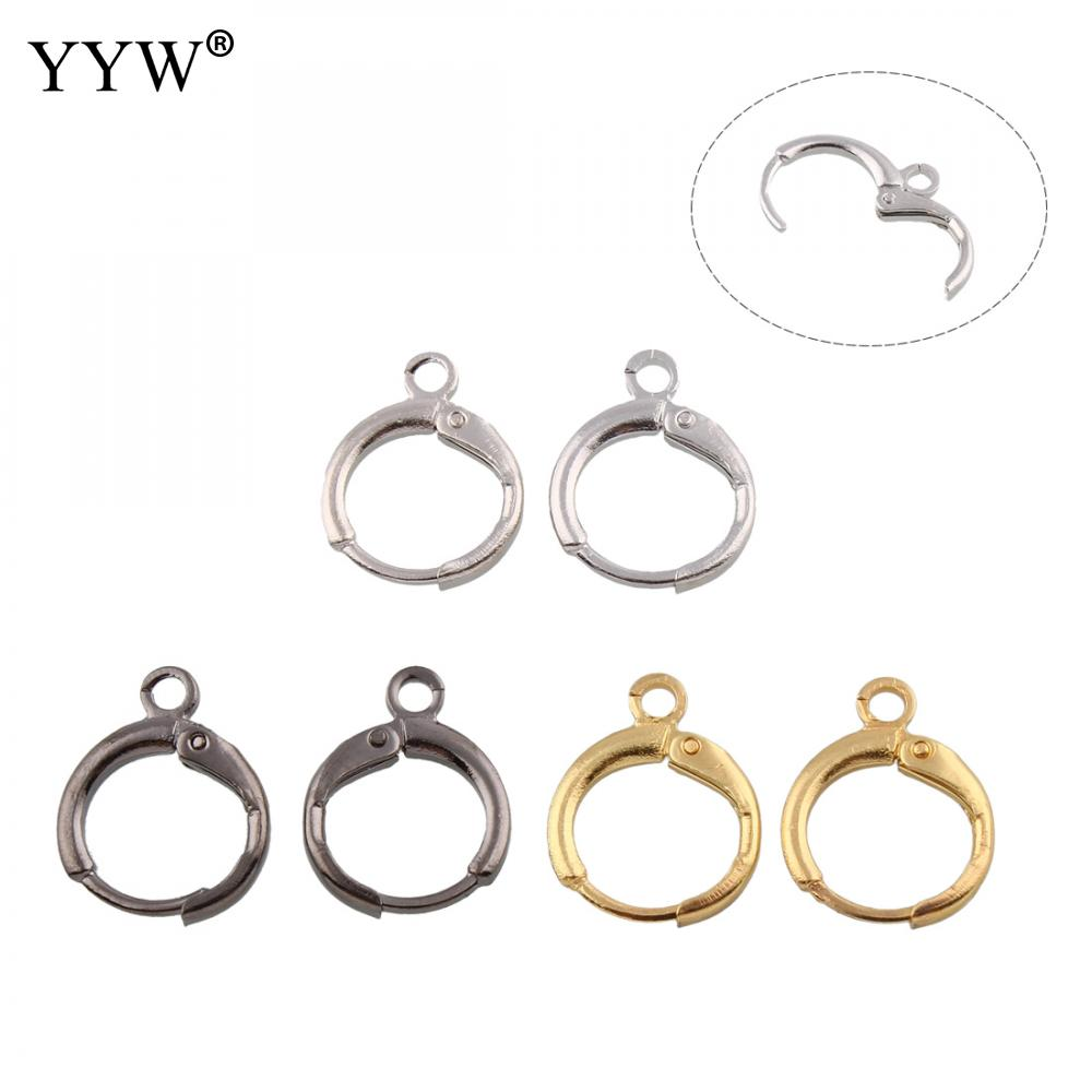 100PCs/Bag Zinc Alloy earring hoop component plated 12x15x2mm For Jewelry Making Hole:Approx 2mm