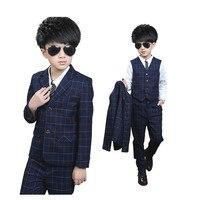 Gentle Boys Plaid Cotton Formal Dress Suit 3PCS Vest+Blazer+Pant for Flower Boys Wedding Suit Children Proms Suit