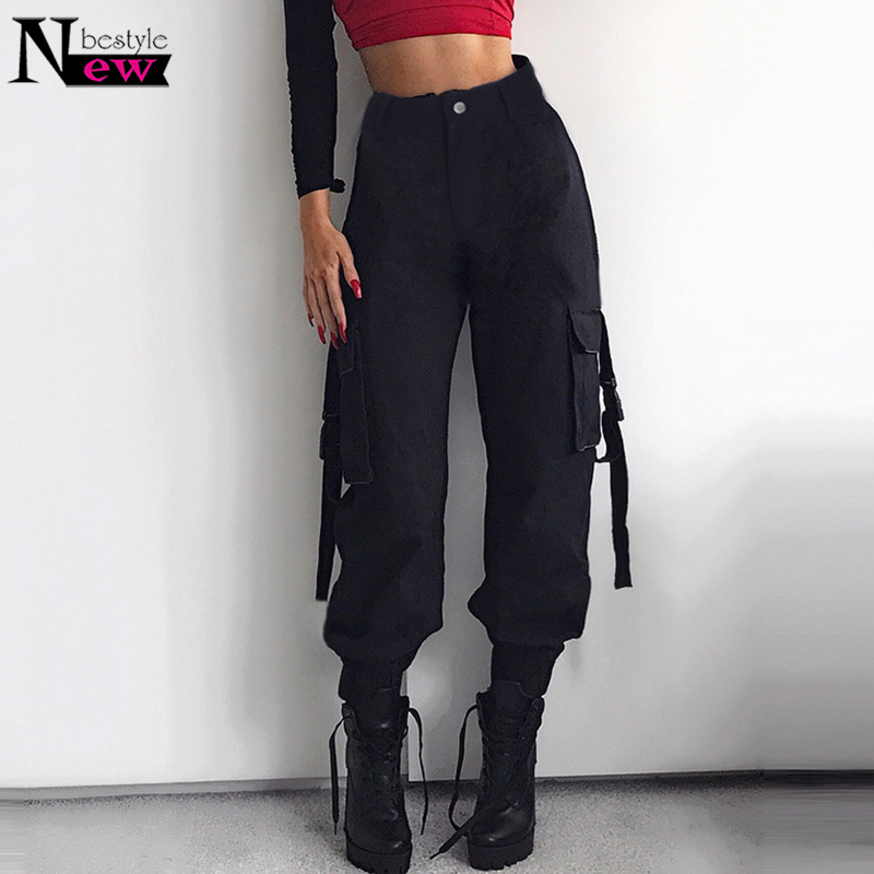 Streetwear Cargo   Pants   Women Casual Joggers Army Black High Waist Loose Female Trousers Women Fashion Hip Hop Ladies   Pants     Capri