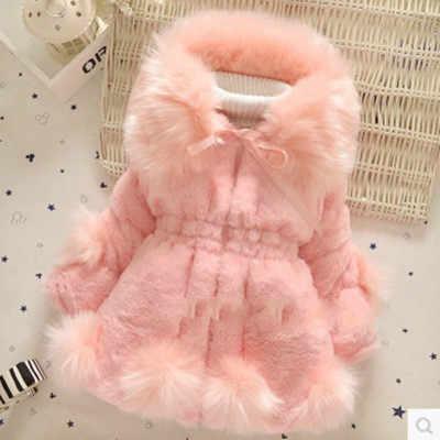 2018 Новинка зимы для девочек Lmitation меховое пальто, длинная куртка теплый свитер для детей, большой меховой воротник утепленная детская одежда из хлопка