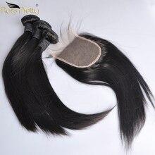 פרואני שיער חבילות עם סגירת מראש קטף ישר שיער תחרת סגר עם חבילות שיער טבעי הארכת ללא רמי