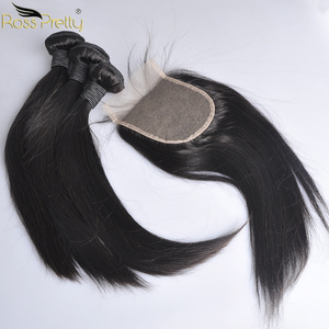 Image 1 - 페루 헤어 번들 클로저 pre prelucked straight hair 레이스 클로저 (번들 포함) human hair extension non remy