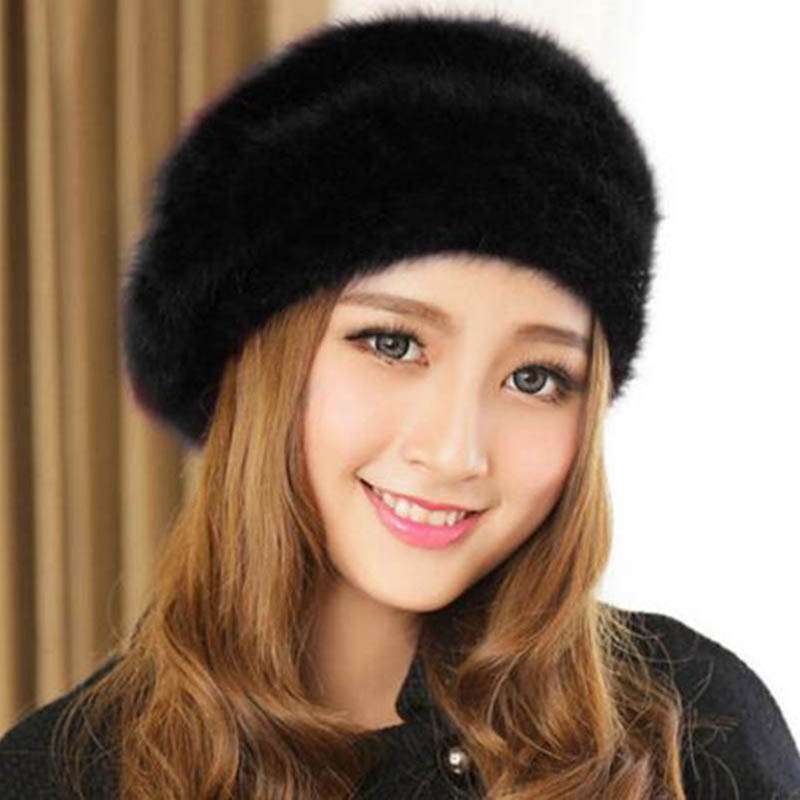 Autumn Winter Fashion Women beret hat Rabbit Fur Hat Thicken Warmer femme for
