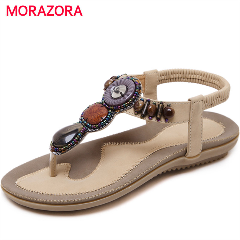 MORAZORA Bohemia style summer shoes PU fashion string bead sandals women shoes party platform large size 35-45 купить