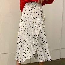 Sweet  Korean Polka-dot High Waist Skirt Female Long Section 2019 Summer New Temperament Chiffon Skirt sweet long sleeves cartoon print blouse polka dot skirt twinset for women