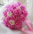 2017 Дешевые Свадебные/Невесты Свадебный Букет Розовые Розы Ручной Работы Искусственный Цветок Букеты де mariage рамо де-ла-бода