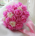 2017 Cheap Wedding/Bridesmaid Bridal Bouquet Pink Rose Handmade Artificial Flower Bouquets de mariage ramo de la boda
