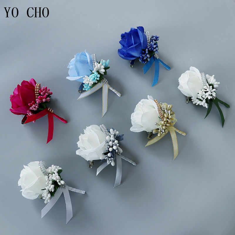 YO CHO Wedding Bouquet Artificial Rose Flowers Blue Brooch Corsages Glitter Rhinestone Ribbon Lace Classic Prom Boutonniere Pins
