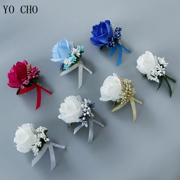 YO CHO Wedding Bouquet Artificial Rose Flowers Blue Brooch Corsages Glitter Rhinestone Ribbon Lace Classic Prom Boutonniere Pins leaf floral artificial gem oval rhinestone brooch