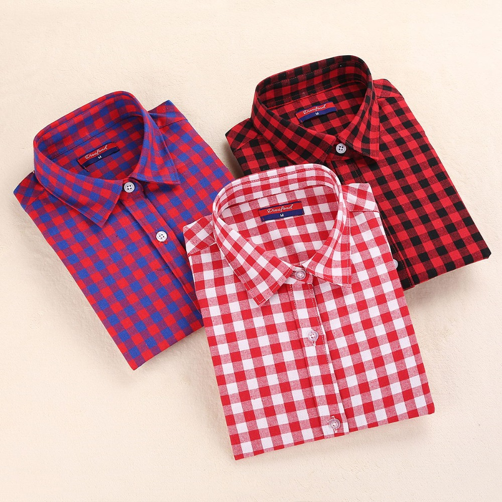 Brand Casual Plaid Women Women Shirts Blouses: womens red plaid shirts blouses