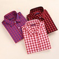 Brand Casual Plaid Women Shirts Blouses Ladies Collar Tops Plus Size Blusas Femininas Red Long sleeve Plaid Shirts Women 2016