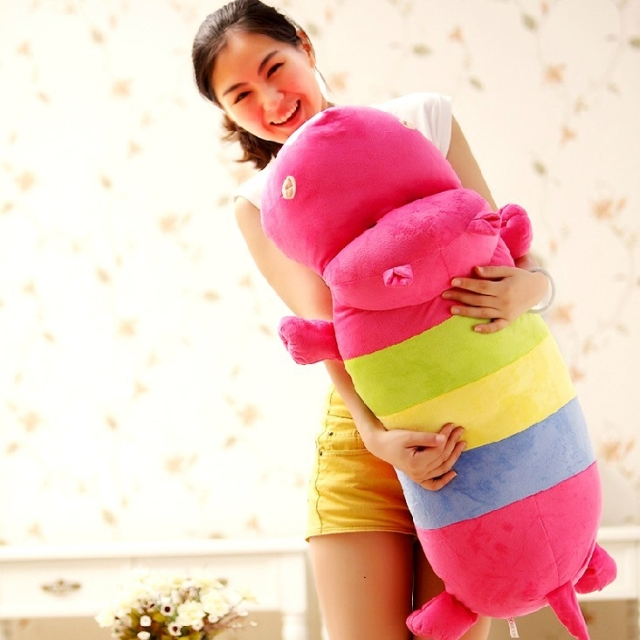 lovely rainbow colours cartoon hippo large 85cm plush toy throw pillow ,Christmas gift h620