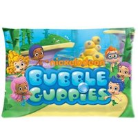 Zippered Pillow Protector Pillowcase Queen Size 20x30 Inches Bubble Guppies Pillow Cover