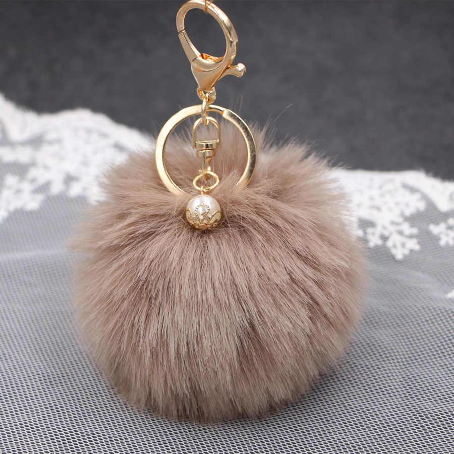 Hot faux Pérola Bola de Pêlo de Coelho bolsa Chaveiro Anel clef porte de Pelúcia Artificial fur PomPom chaveiro Ornamento pom pom pingente