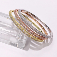jewelry classic independent design style beautiful half circle crystal bracelet copper bracelet bangle for women