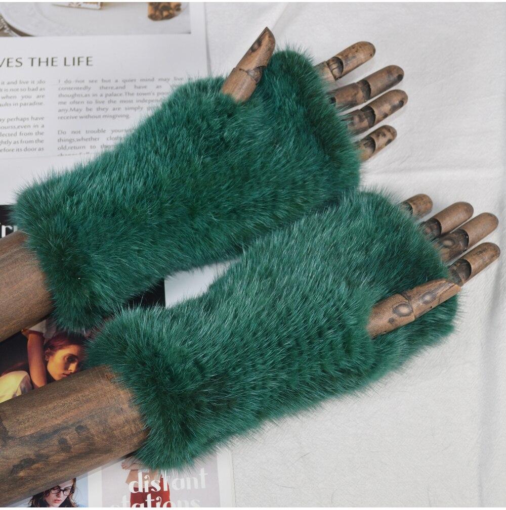 Gants hiver forte élasticité réel vison fourrure mitaines