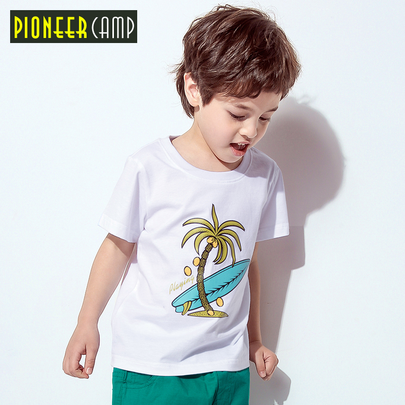 Pioneer camp kids new short sleeve t shirt for boys fashion printed tshirt boys 100% cotton quality t-shirt boys girl BDT810050