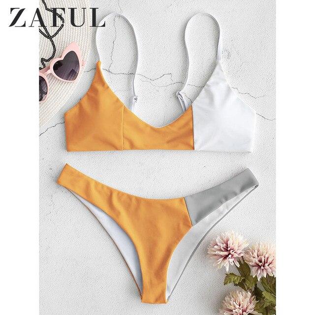 ZAFUL Chắp Vá Khối Màu Mùa Hè Phụ Nữ 2019 Bộ Bikini Đẩy Lên Áo Tắm Mặc Bikini Thấp Eo Khuyến Mãi Áo Tắm Khuyến Mãi Biquini Thiết Lập Bộ