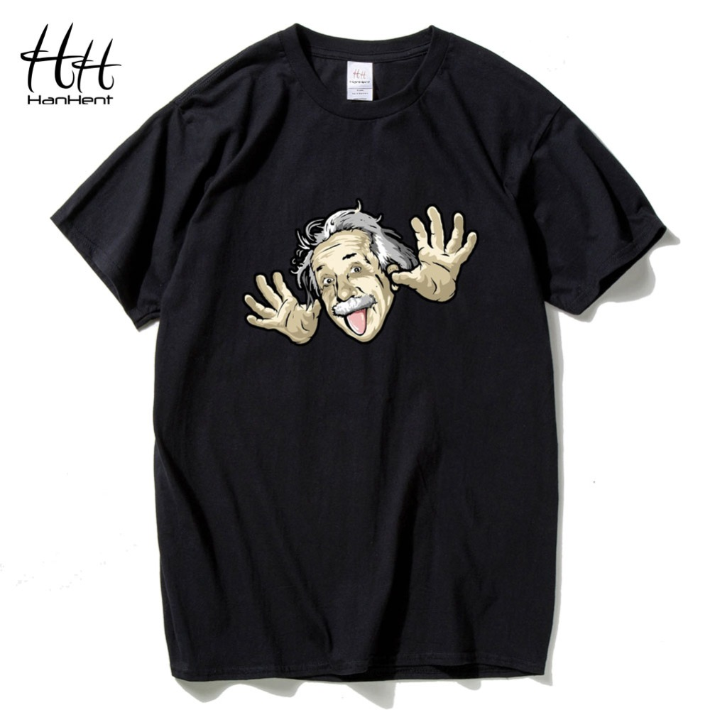 Hanhent Comical Albert Einstein T shirt Men Put His Tongue Out Funny Cotton Top tees Short sleeve The Big Bang Theory T-shirt