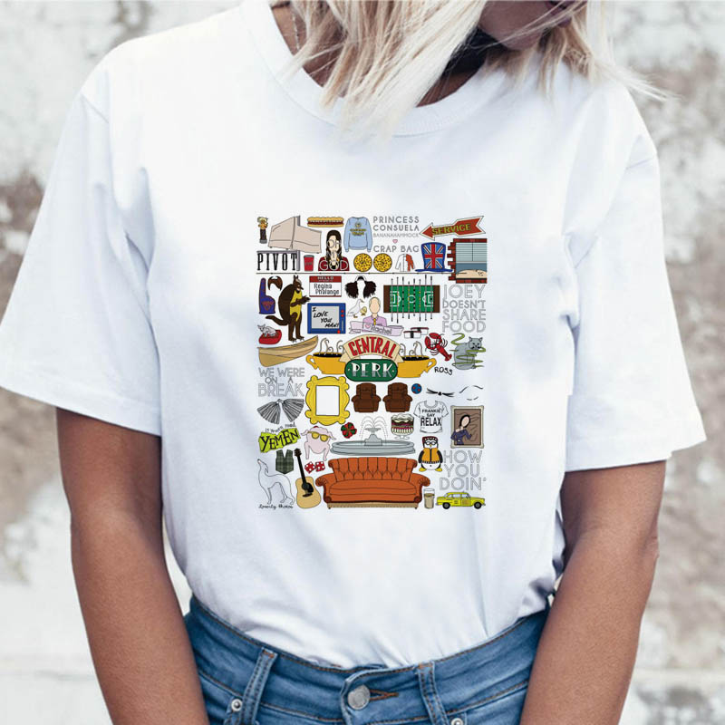 Friends Tv Show Collage T Shirt T-shirt Tshirt Ulzzang Women Funny Graphic Harajuku Female For Top Korean Tees Clothing
