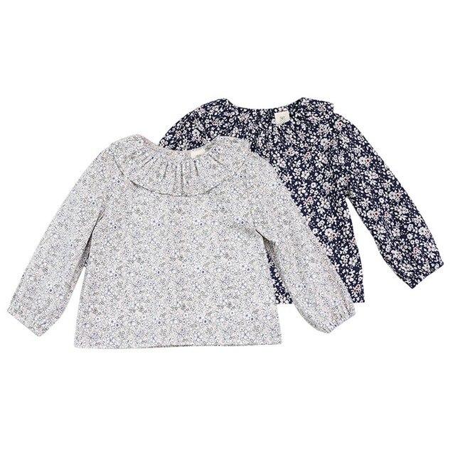 אביב חולצת דש ילד מתוק פרחוני תינוקות בנות שרוול ארוך חולצות חולצה יופי פאף שרוולי נסיכה