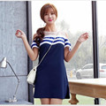Fashion  summer new  women dress fashion Slim spell color mesh strapless chiffon short-sleeved dress