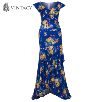 Vintacy Summer Women Blue Zipper Sleeveless Floral Sexy V Neck Dress Lady Vacation Casual Ankle Length