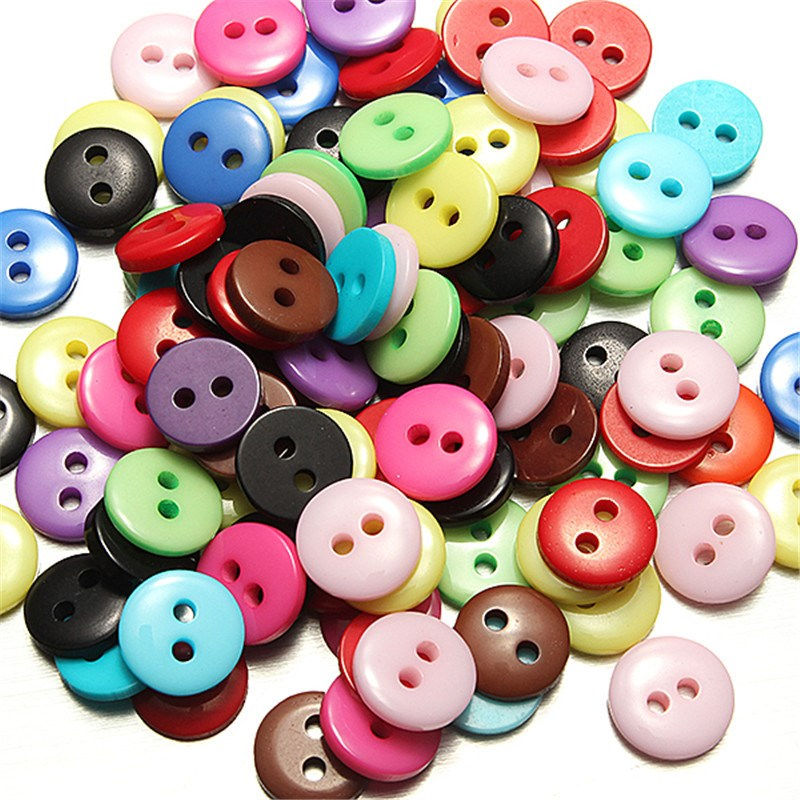 Lots 100pcs 2 Holes Resin Sewing Button Round Button Craft DIY Supplies Decor