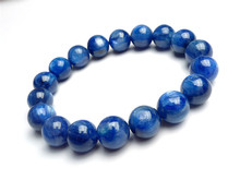 13mm Genuine Natural Blue Kyanite Cat Eyes Bracelets For Women Mens Power Crystal Round Bead Charm Stretch Bracelet