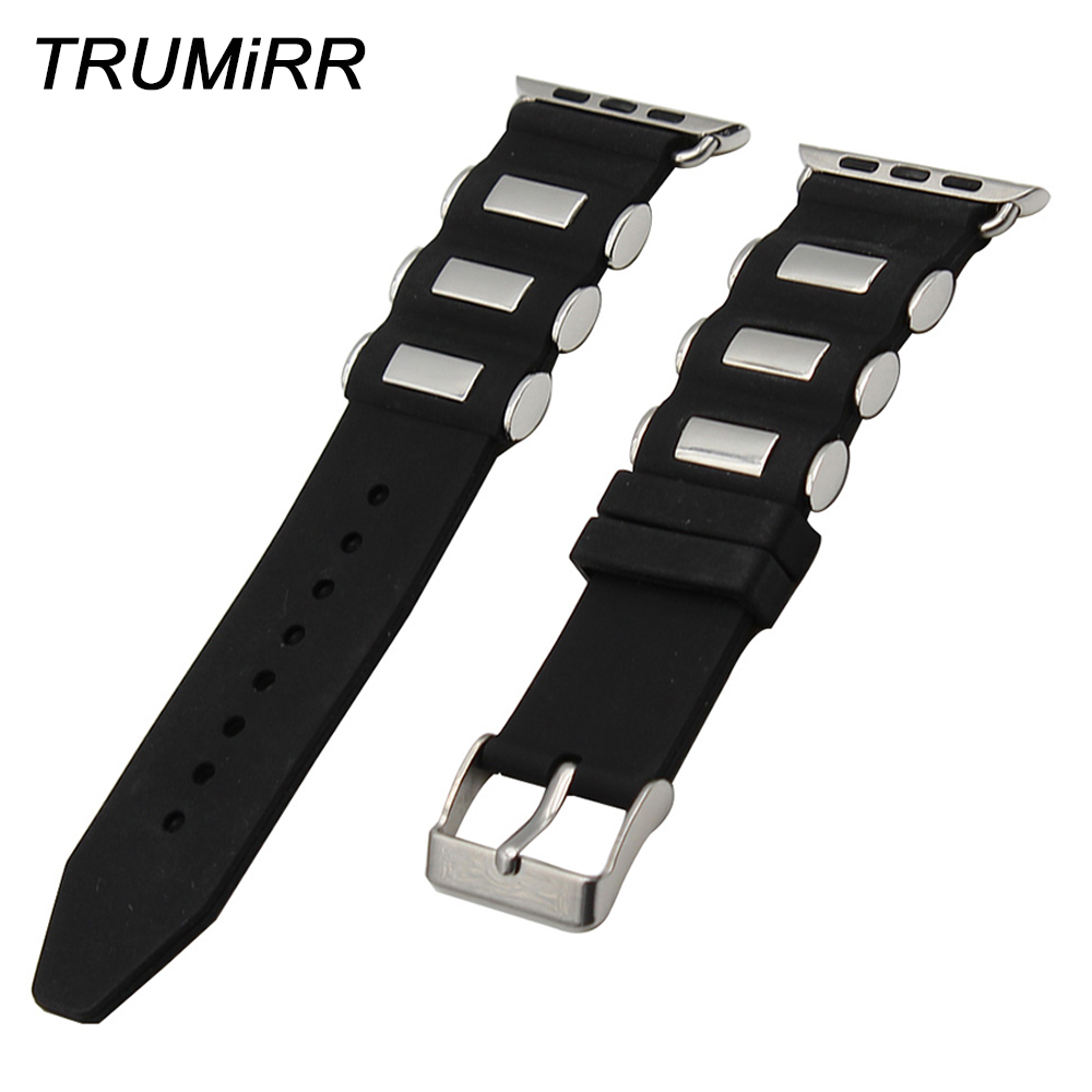 Silicone Rubber Watchband + Adapters for iWatch Apple Watch 38mm 42mm Wrist Strap Stainless Steel Buckle Band Bracelet Black genuine leather watchband adapters for 38mm 42mm iwatch apple watch band stainless steel pin buckle strap bracelet black brown