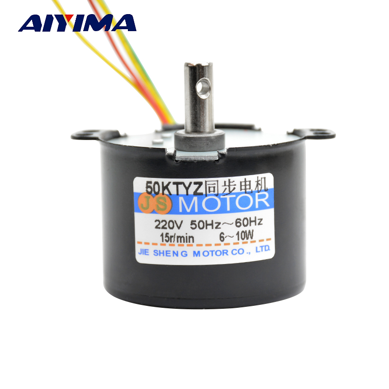 AIYIMA 50KTYZ 220V Synchronous Motor 10W Permanent Magnet Gear Reduction Motor Reversible Controllable Micro Moteur все цены