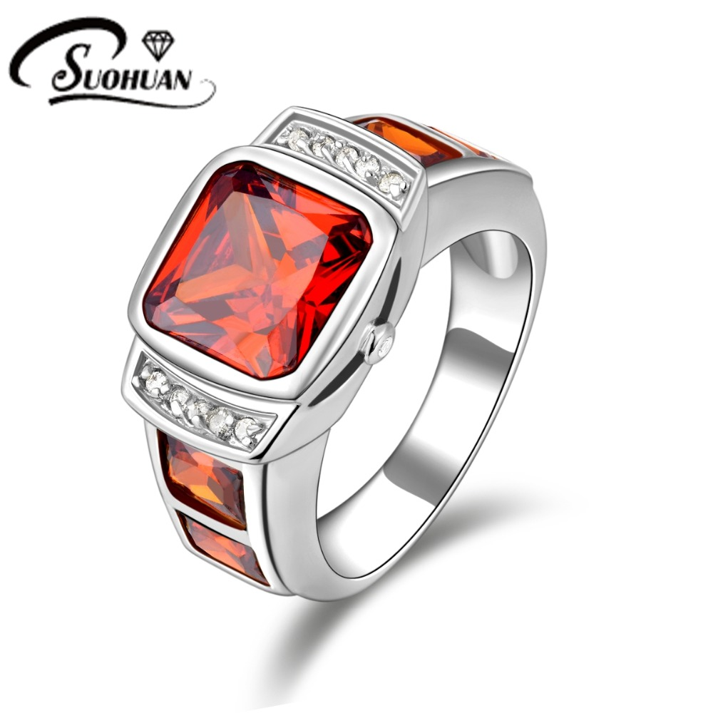 Fashion Male Rudy Jewelry Garnet Men Rings Red Cz Diamond Ip White Gold  Filled Anniversary Ring